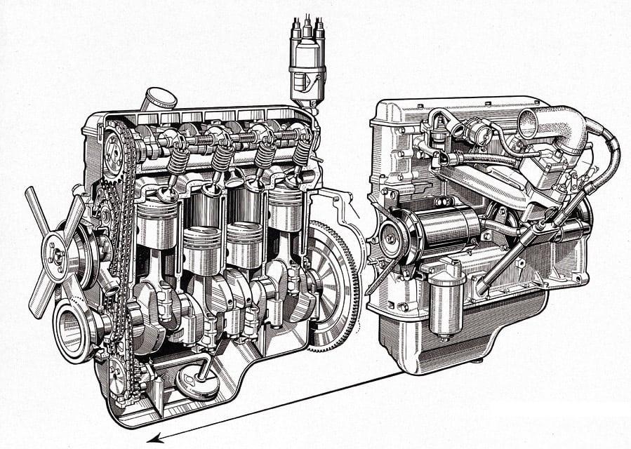 Двигатель BMW M10 в разрезе