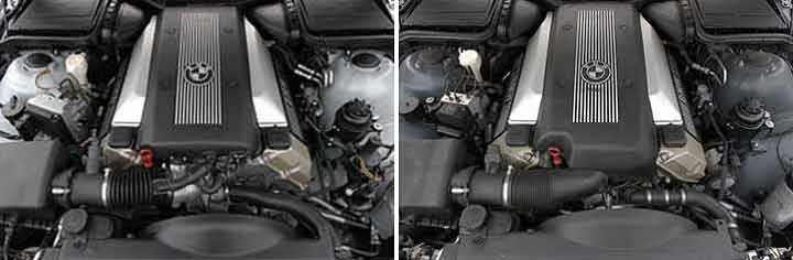 Внешние различия двигателей M62: без — слева/c VANOS — справа