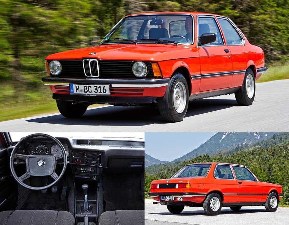 Первая «трёшка» BMW (Е21) появилась в 1975 году как замена двухдверки 1602: клиновидная форма передка, как у запущенной несколькими годами ранее «пятёрки» (Е12), развёрнутая к водителю центральная консоль. Итоговый тираж — чуть менее полутора миллионов.