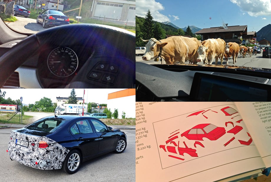 В Австрии коровы сплошь с колокольчиками, пастухи — на велосипедах, а в плане дорог она показалась мне этакой немецкой Италией. Но отправной и конечной точками маршрута для нас стал Мюнхен. Рядом с тамошним пресс-парком BMW встречаются закамуфлированные машины, а внутри — интереснейшая библиотека: на снимке, например, все кузовные отличия М3 серии Е30 от исходника.