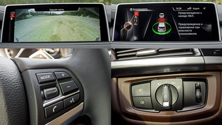 Новый BMW X5 — весьма «глазастый» автомобиль. Камеры встроены не только в крышку багажника, но и в капот и корпуса боковых зеркал. А изображение с них потрясающего качества, да ещё и на весь экран. Глянцевый центральный дисплей (диагональ — 10,25 дюйма) по уровню графики и качеству анимации уступает разве что аналогу на Мерседесе S-класса. Кнопкой между центральными дефлекторами климатической установки открывается меню ассистентов безопасности. Через него можно включить/выключить системы слежения за дорожной разметкой, автоматического торможения (со средней силой) перед движущимся или стоящим препятствием, удержания автомобиля в пределах полосы. Помимо прочего X5 следит за действиями водителя и анализирует степень его усталости.