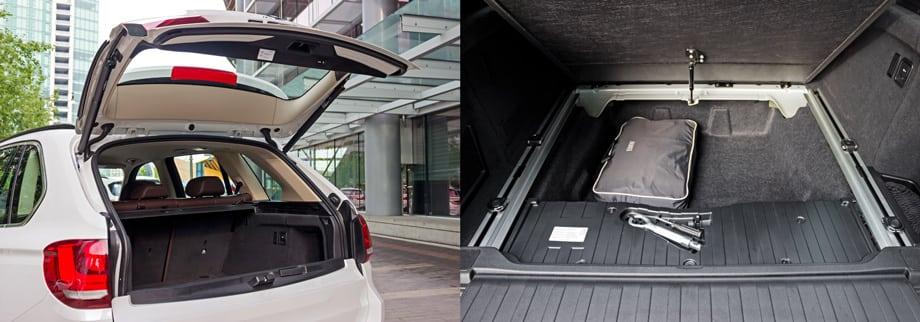 Верхняя часть двустворчатой двери багажника в базовой комплектации оснащена электроприводом, который при нажатии на кнопки в салоне или на брелоке и открывает её, и закрывает. Фальшпол, поднимающийся на газовом упоре, прячет от глаз глубокую нишу. Докатку и запасное колесо призваны заменить шины run flat.