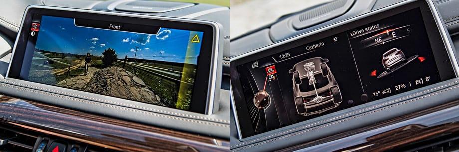 Камеры кругового обзора встроены в крышку багажника, капот и корпуса боковых зеркал. На центральный дисплей выводится схема полноприводной трансмиссии и алгоритмы её работы. По умолчанию на заднюю ось идёт 60% тяги. Можно заказать системы слежения за дорожной разметкой, автоматического торможения перед движущимся или стоящим препятствием, удержания автомобиля в пределах полосы. Кроме того, X6 анализирует степень усталости водителя.