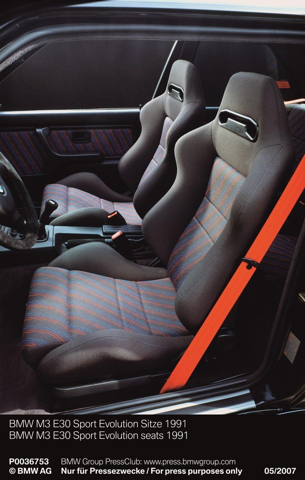 BMW M3 E30 Sport Evolution seats 1991