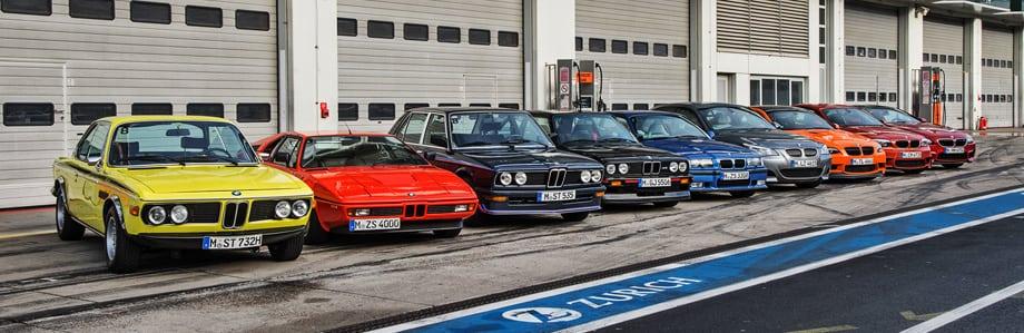 Дорожные. От 3.0 CSL начала 70-х до новейшего купе M6. Третий слева — седан M 535i 1979 года с 12-клапанной «шестёркой», который можно назвать пилотным проектом перед выпуском модели M5.