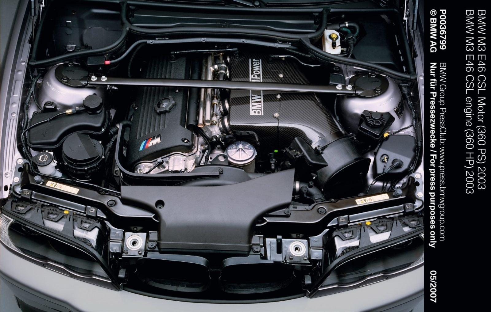 Двигатель BMW M3 E46 CSL 2003 года. (S54) выдавал 360 л.с.