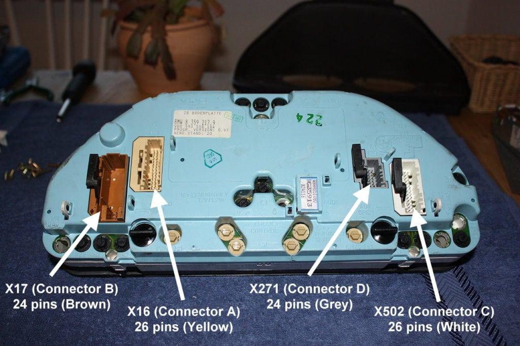 Обозначения коннекторов на приборной панели третьего поколения (Gen III)