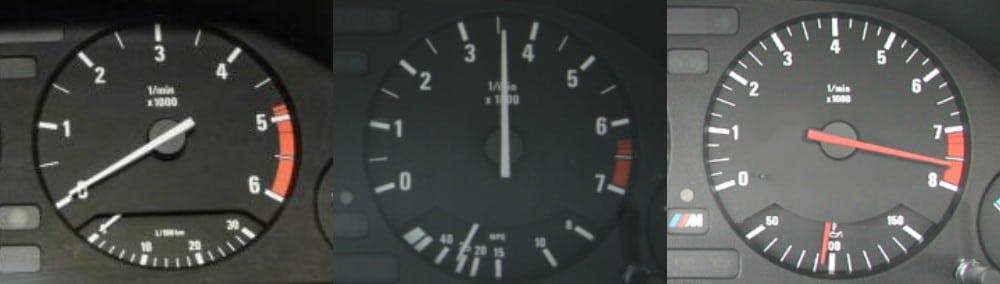 На BMW E34 существует три версии тахометра и при смене приборной панели, естественно тахометр должен совпадать с исходной