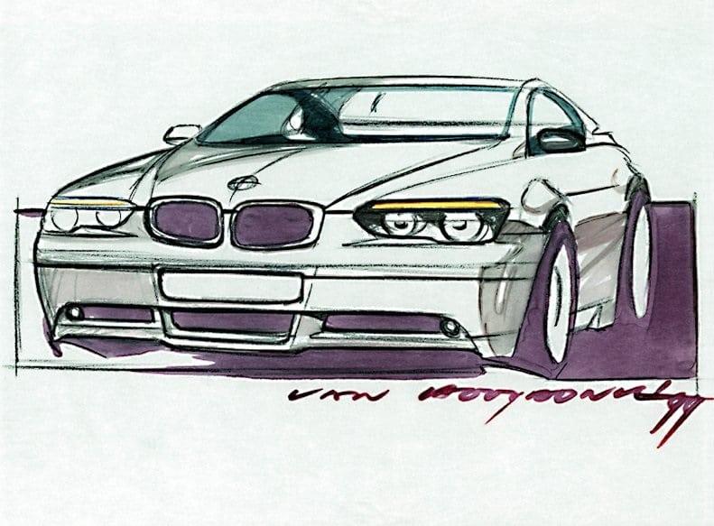 Оригинальный скетч BMW 7 серии 1998 года Адриана Ван Хойдонка изображал более радикальный сглаженный фастбэк