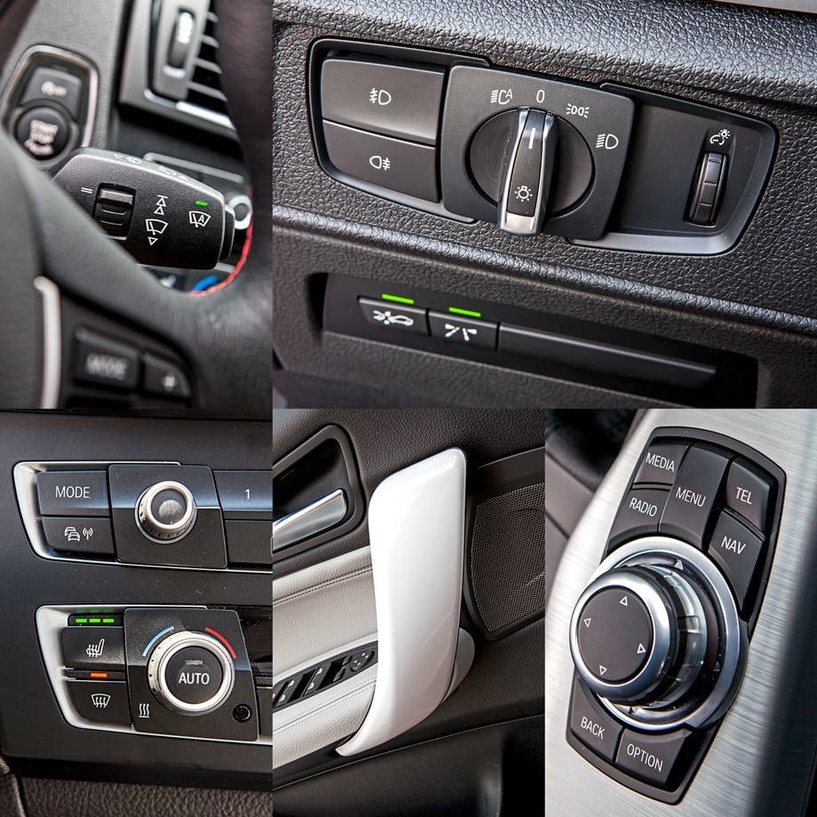 Идеи «слоёного» дизайна немцы придерживаются и в деталях вроде дверных ручек, клавиш магнитолы и климат-контроля или нового блока освещения. Под ним, кстати, кнопки активации двух систем оповещения. Одна включает вибромоторчики в спицах руля, когда вы пересекаете дорожную разметку, не включив поворотник (подрулевые рычажки не фиксируются). Другая предупреждает об опасном сближении с идущим впереди автомобилем. Параметры других вспомогательных систем можно регулировать при помощи опционного контроллера iDrive, расположенного на пассажирской стороне центрального тоннеля.