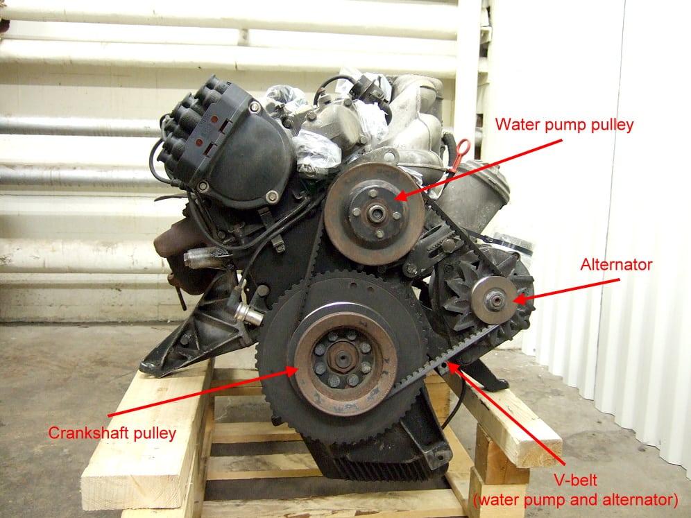 Замена приводных ремней на BMW 5 E34. Обзор одного из ремней и основных компонентов. Не забывайте, что вентилятор с вискомуфтой крепятся на оси водяной помпы и имеют обратную резьбу.