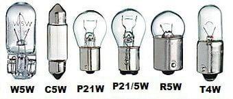 Основные виды и кодовые обозначения автомобильных ламп