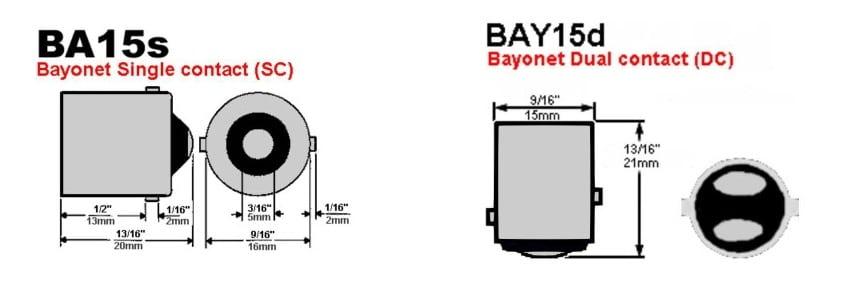 На картинках можно увидеть различия между сокетами BA15s и BAY15d.