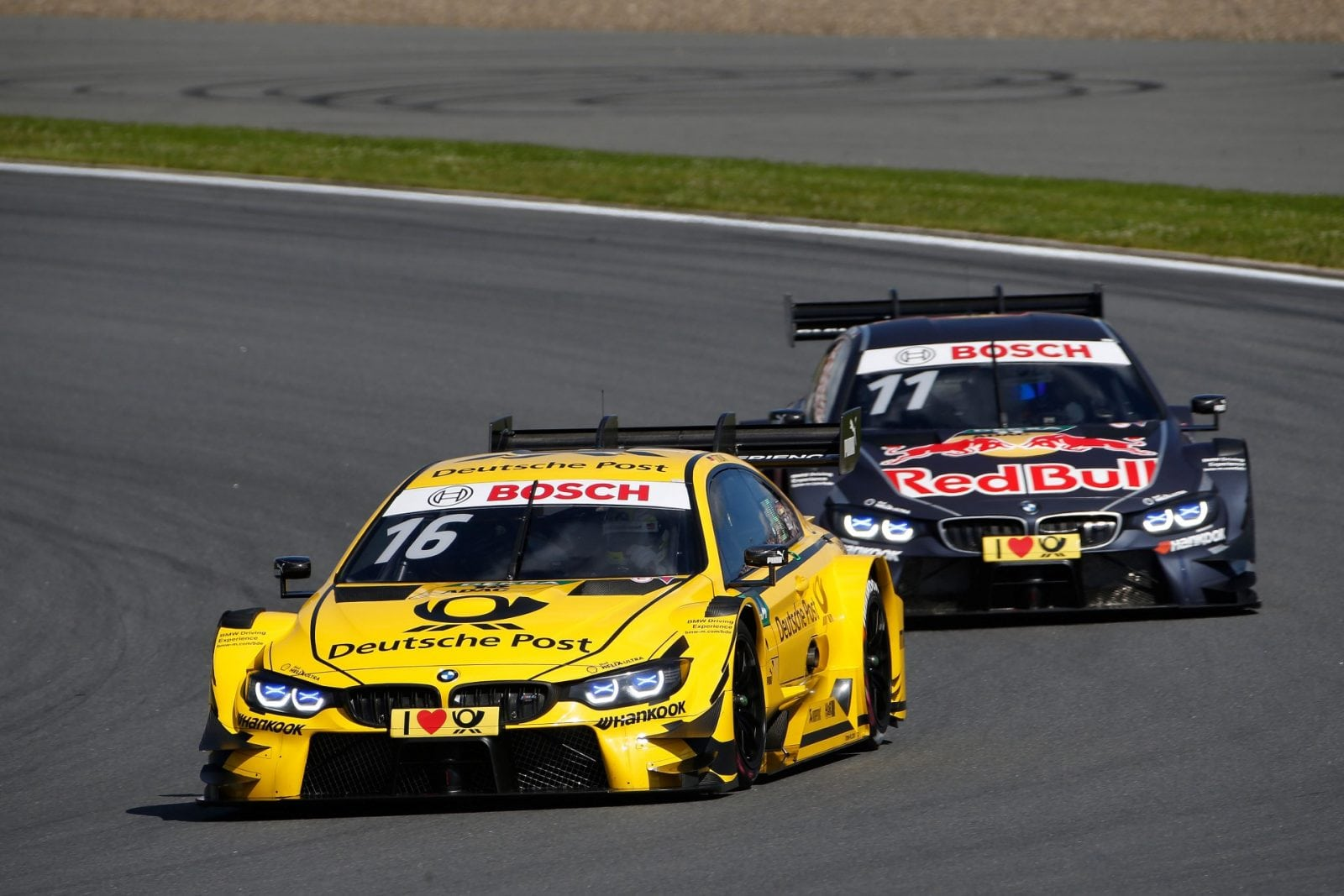Moscow (RUS) 23th July 2017. BMW Motorsport, Race 10, Timo Glock (GER) DEUTSCHE POST BMW M4 DTM and Marco Wittmann (GER) Red Bull BMW M4 DTM.