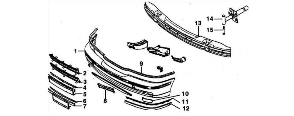 Схема элементов переднего бампера BMW 5 серии E39