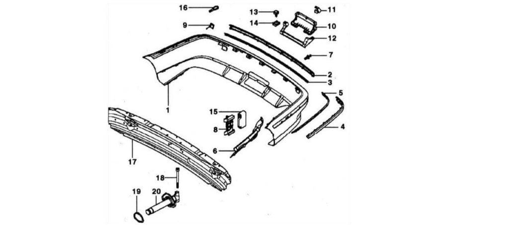 Схема элементов заднего бампера BMW 5 серии E39