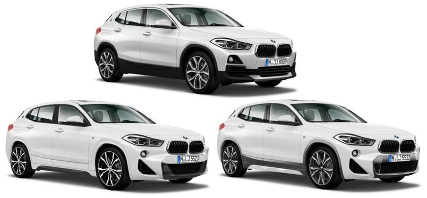 BMW X2 2018: Вверху — базовая версия, внизу слева — M Sport, внизу справа — M Sport X