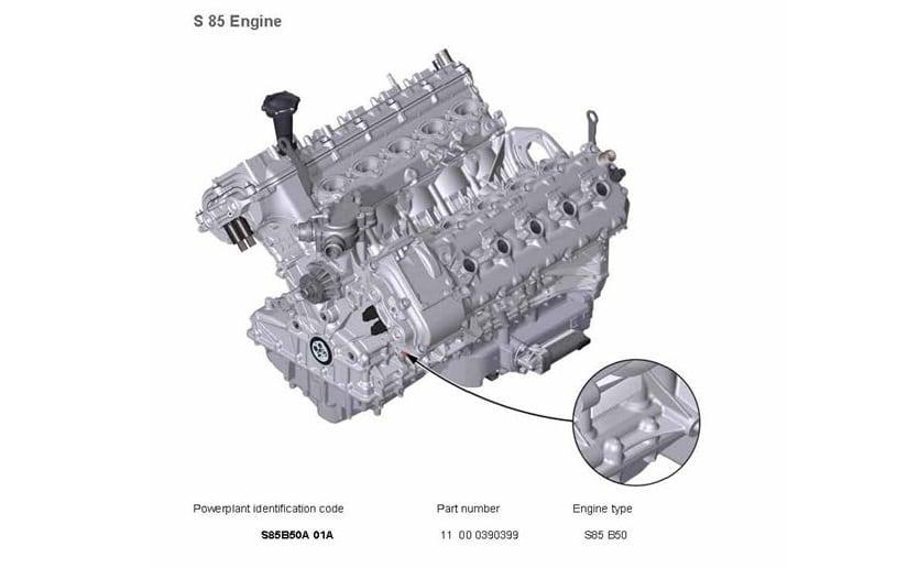 Расположение номера и коды двигателей BMW S85